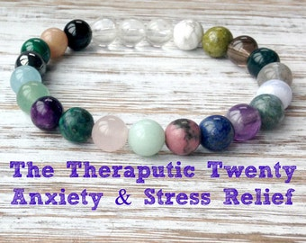 The Therapeutic Twenty Anxiety Relief Bracelet, Healing Crystals, Stress Relief, Calming Mala Beads, Inner Peace - Soothing - Relaxation