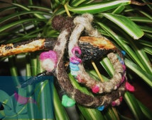 Set of two wet felted bangles/handmade/wool/felt/gift for her/spring branches/wonderful colors/ unique/ spring buds/ collectible
