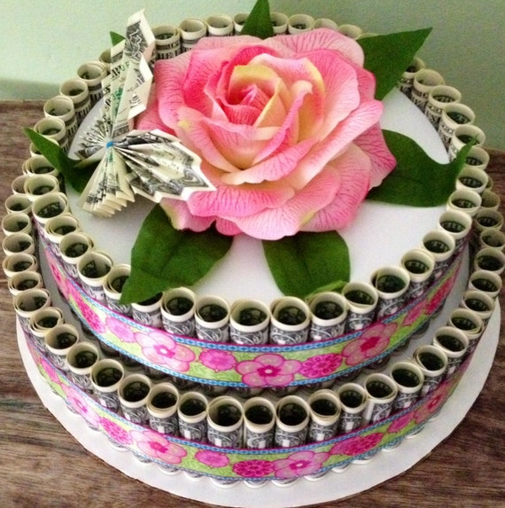 Dollar Cake Images : Money cake made with 100 dollars real money for birthday or