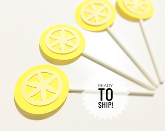 Lemon cupcake toppers , lime cupcake toppers , lemonade cupcake toppers , lemonade birthday party , pink lemonade cupcake toppers , lemonade