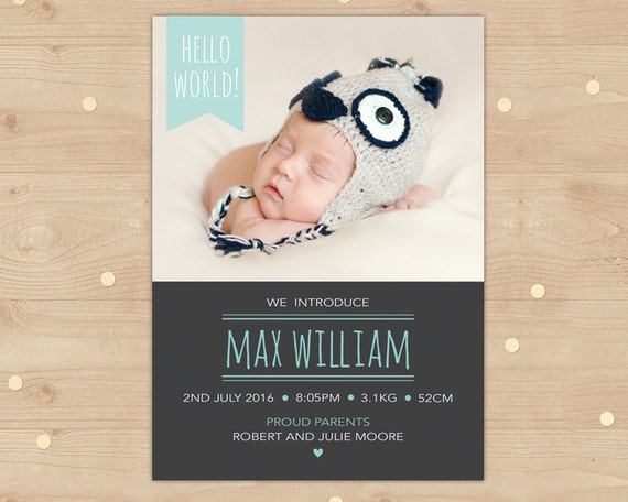 Birth Announcement Printable File // Hello World Chalkboard