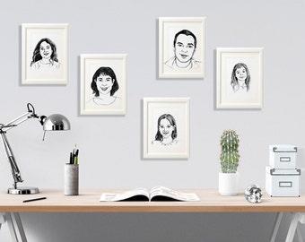 Personalized family portrait, Custom portrait, Personalized sketch, Custom drawing, Printable family portrait, Christmas gift