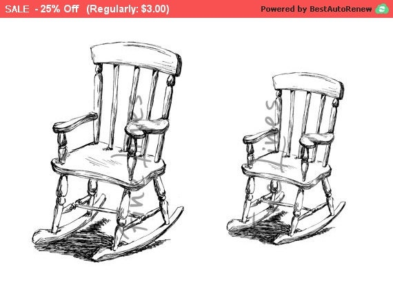 digital stamp rocking chair print black and by rachelsfinelines. Black Bedroom Furniture Sets. Home Design Ideas
