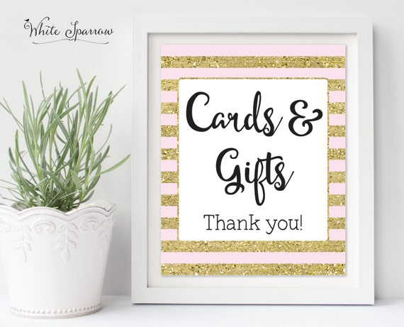 Wedding Gift Table Sign Template : Cards and Gifts Sign, Gift Table sign, wedding signs, Gold Bridal ...