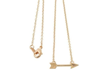 arrow tiny, simple, dainty, cute , gold plated necklace, jewelry, pendant, charm, chain