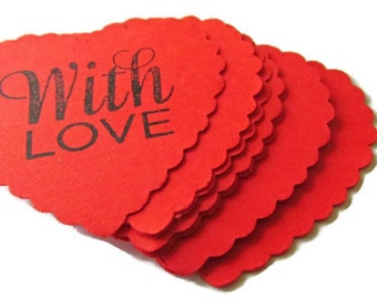 Red paper hearts 30 pcs / with love sentiment paper hearts/ scallop large paper hearts / paper heart tags