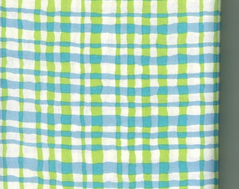 Blue/ Green checked 100% cotton fabric-sold by the yard