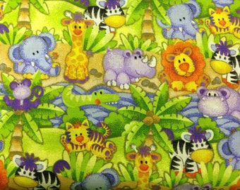 Jungle Babies 100% cotton fabric- sold by the yard