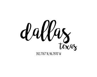 Dallas Texas Coordinates Printable