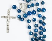 Apatite Blue Men's Rosary, 8mm and 10mm Blue Apetite stone, Sacred Heart of Jesus Center, Simple Crucifix Gift for Catholic Dads