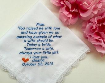 Mother Handkerchief In Embroiderd-Customized Hankie-Wedding Handkerchief-Free Wedding Gift Box