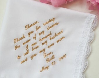Mother of the Groom Gift-Embroidered-Customized- Wedding Handkerchief Mother In-Law -Free Wedding Hanky Gift Box