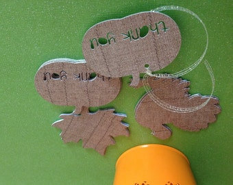 Thanksgiving Die Cut  Gift Tags Set of 12, Party Favor, Autumn Party, Gift Tags