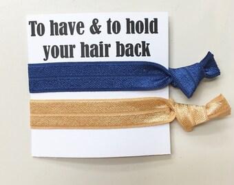 SALE-Bridesmaid hair tie favors//hair tie card, hair tie favor, bachelorette gift, bridesmaid hair ties, party favor, wedding, bride, gift