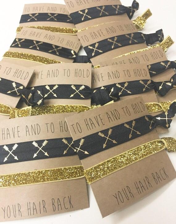 Bridesmaid hair tie favors//skinny gold black gold cross arrows, hair tie favors,hair tie cards, party favor, bridesmaid godt, bachelorette