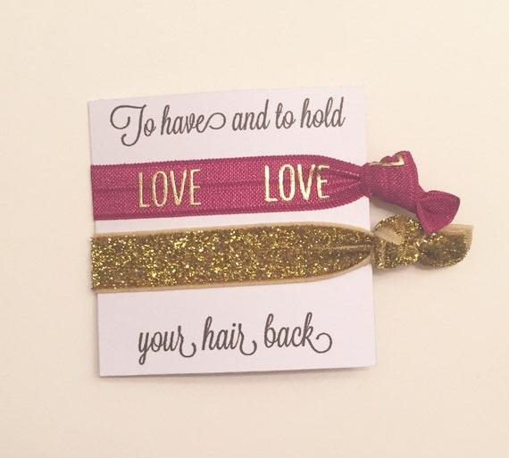 Bridesmaid hair tie favor//hair tie card//party favor//bridesmaid gift//bachelorette//