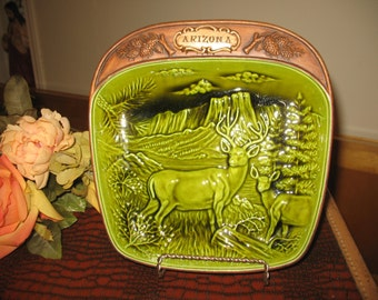 Plate decorative deer Arizona by treasure Craft U S A 1950 your postal code for actual shipping S V P