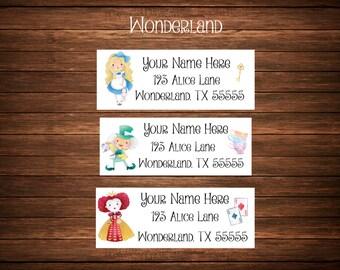 Alice in Wonderland Address Labels, Mailing Labels