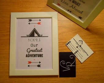 """Adventure Tent Print. """"You Are Our Greatest Adventure"""" 7x5 Framed Print"""