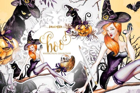 Halloween Clipart Fall Watercolor Happy Halloween DIY Pack Pumpkin Lantern Hat Witch Broomstick Bat Black Cat Handpainted Illustrations