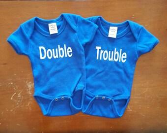 Double Trouble Onesies, Twin Baby Onesies, Twin Onesies, Baby Onesies