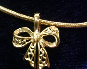 SALE!  Bow Necklace Signed Roman~ Cable Style! Brilliant Goldtone (was 10.00)