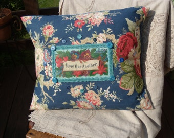 Love One Another Vintage Victorian Image Pillow