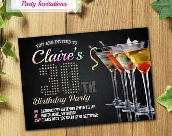 PRINTED & DELIVERED   12x Birthday Invitations   Cocktail Series   40th, 50th, 30th, 21st, 60th, 70th or Any Age