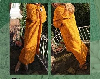 Saffron Chenille Long Chunky Cardy Coat Hand Knitting Pattern