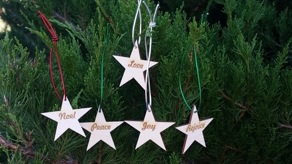 Wood Star Christmas Ornaments Love Joy Peace Rejoice