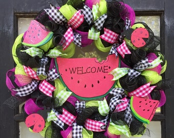 Spring wreath, summer wreath, watermelon wreath, spring front door wreath, watermelon decor, mothers day gift, gift for her,