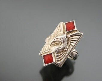 THEODOR FAHRNER. Eagle Ring Art Deco. Silver Sterling 935, Coral. Designers Jewelry Size 6