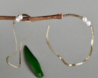 Large stud hoops, wavy earrings, white pearl hoops, hammered big hoops, twisted earrings, artisan pearl hoops, hoops under 25, thin rings.