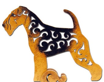 Statue welsh terrier, Airedale figurine made of wood, hand-painted with acrylic and metallic paint