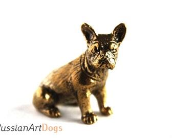 French Bulldog - a miniature statuette of bronze,  metal figurine