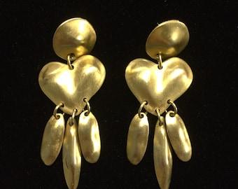 Vintage Gold Brass Dangle Earrings