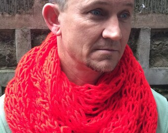 Hand knitted infinity scarf, winter scarf, christmas gifts for men, stocking filler.