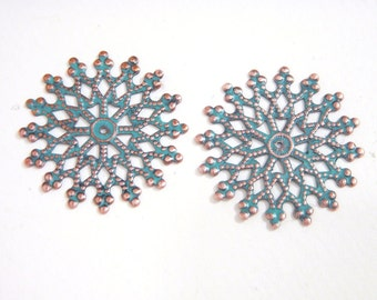 Patina Filigree Focal, Round filigree Snowflake, Blue Patina Copper, Steampunk, Link, 32mm, 2 each, D177