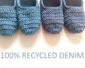 Recycled denim cotton slippers,denim wedding slippers, unisex slippers