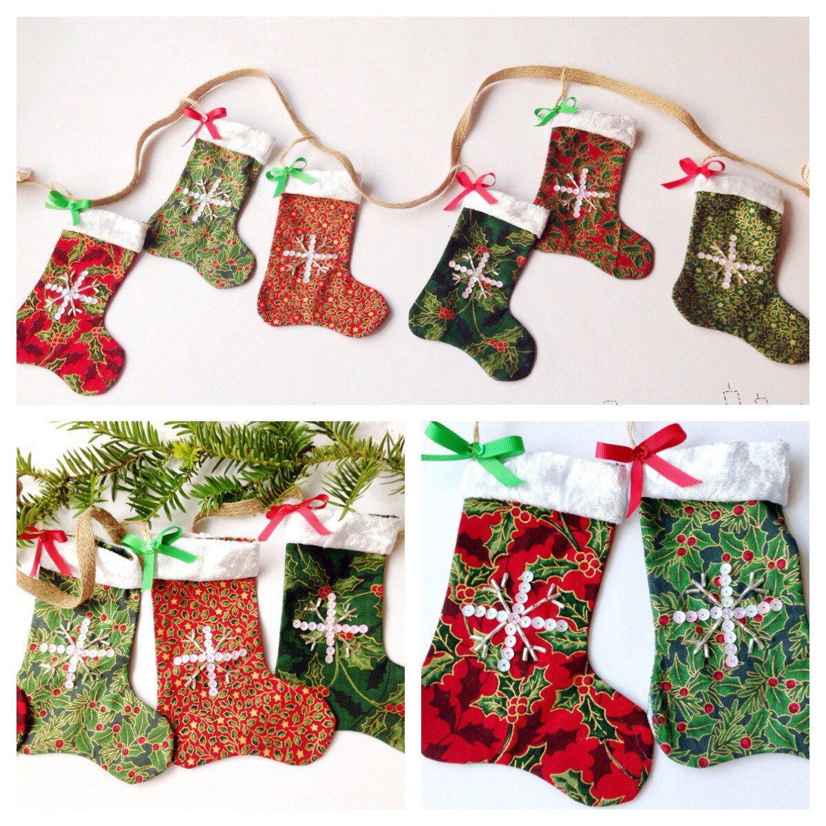 Christmas stocking garland bunting by