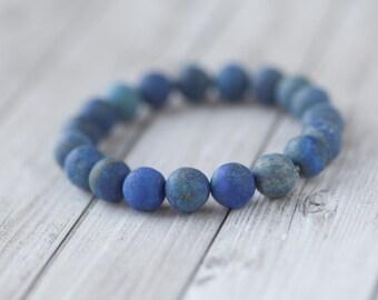 Frosted Lazuli bracelet / Blue Lazuli Bracelet / Lapis Lazuli bracelet, frosted lapis lazuli natural stone bracelet
