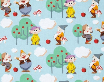 Disney 7 Seven Dwarves Scenic Cotton Fabric by Springs Creative Snow White per fat quarter per metre FQ