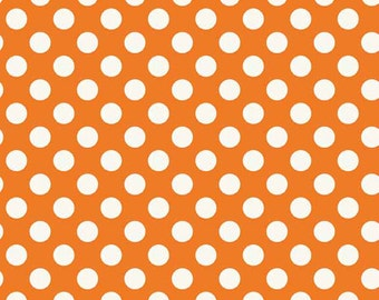 Spot Orange White Polkadot on Orange Spotty Dotty Cotton Fabric from the Spots Collection by Makower The Henley Studio