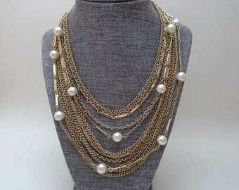 Multi Chain Necklace, Pearl Chain Necklace, Vintage Chain Necklace, Pearl Bib Necklace, Pearl Statement Necklace, Chain Bib Necklace