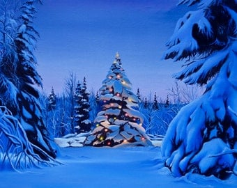 Happy Holidays Greeting Card for Christmas Winter Landscape Tree Lights