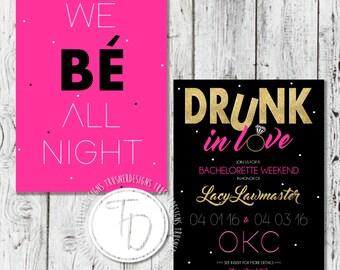 Beyonce Themed Bachelorette Invitation, Drunk in Love Bachelorette Invitation, Gold Glitter Bachelorette Invite, Vegas Bachelorette Invite