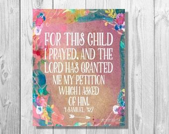 For This Child I Have Prayed | 1 Samuel 1:27 | Scripture Canvas | Nursery Canvas | Bible Verse Art | Print