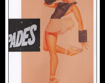 "George Petty Vintage Illustration Sexy Pinup Ice-Capades Ad Double Sided Mature Wall Art Deco Book Print 9"" x 11 3/4"""