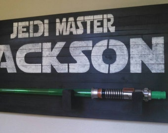 Jedi Master pallet sign with Lightsaber, Star wars