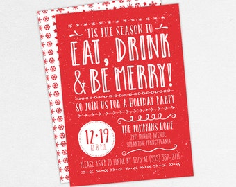 Eat Drink and Be Merry Invitations, Christmas Party Invitations, Holiday Party Invitations, Printable Christmas Invitations, DIY Christmas